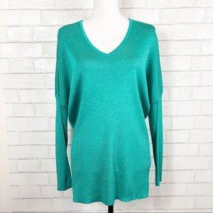 ST.JOHN Aqua Metallic Drop Shoulder Tunic Sweater